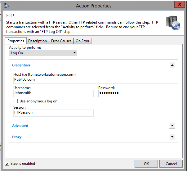 Issuing FTP SITE commands when connecting to IBM AS400