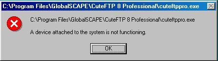 Errors when attempting to use CuteFTP 8 on Windows 95 or Windows 98