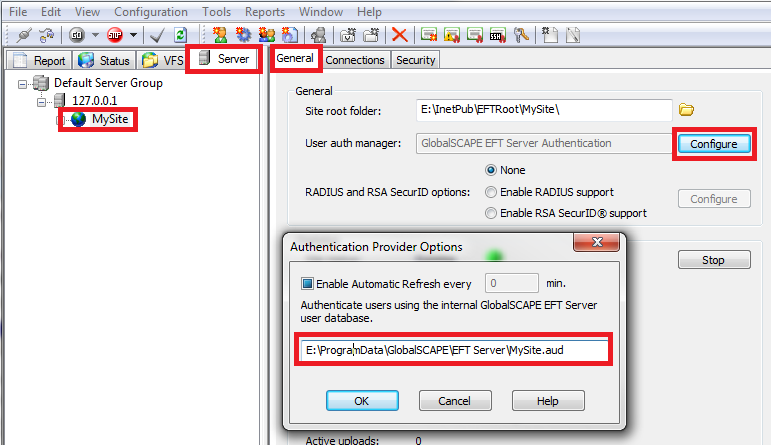 What is stored in the EFT configuration directory?