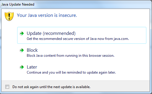 Extra Java security warnings appear when trying to run the application